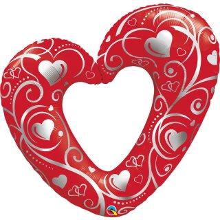 Folienballon Hearts and Filigree red