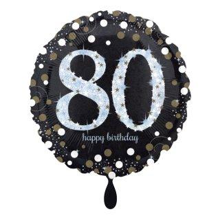 Folienballon Zahl 80 Sparkling Birthday