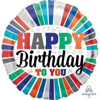 Folienballon* Birthday To You Stripes